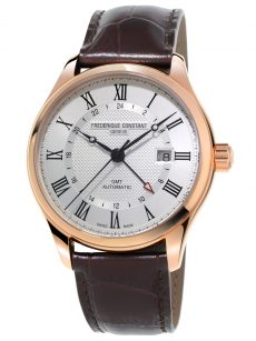 Frederique Constant Classics Index GMT (FC-350MC5B4) Rose Gold Plated with Brown Leather Strap